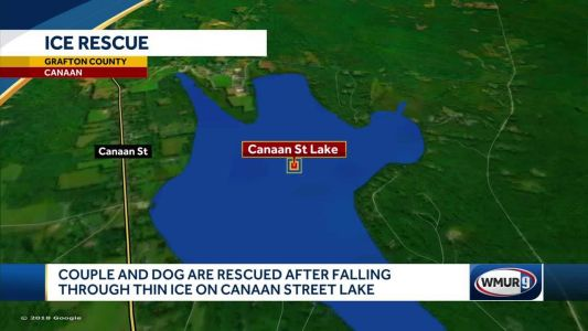 Rescuers save man, dog who fell through ice in Canaan