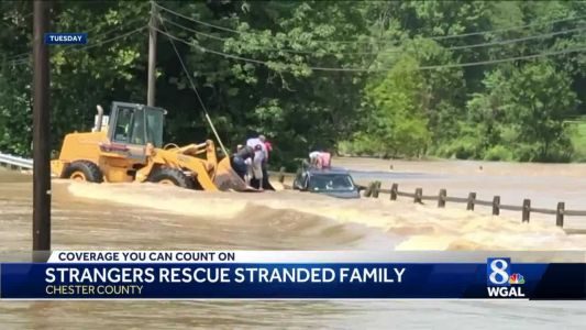 Chester County family rescued from flood on farm equipment with the help of strangers