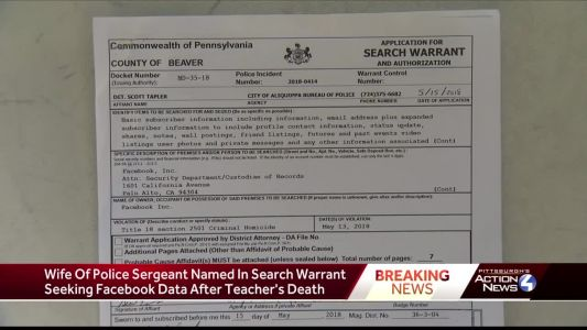 Wife of police sergeant named in search warrant seeking Facebook data after teacher's death