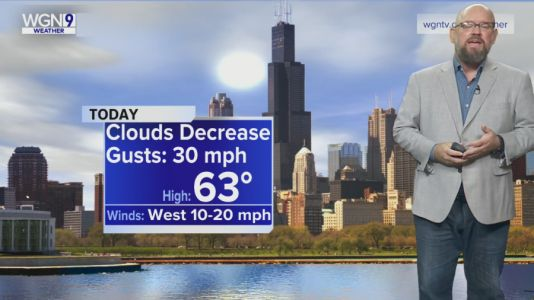 Monday Forecast: Windy with decreasing clouds, temperatures in low 60s