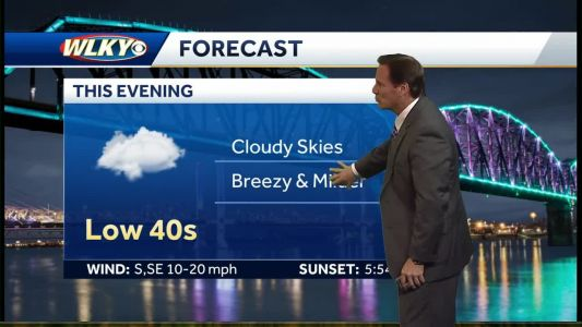 Cloudy skies, breezy and milder