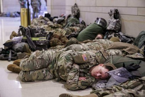 Photos show National Guard in halls, surrounding US Capitol ahead of impeachment hearing, inauguration