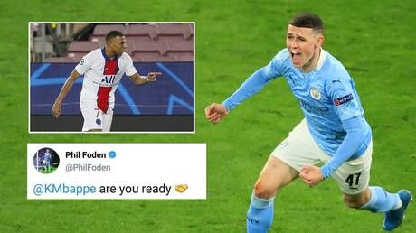 Man City star Foden 'FURIOUS' with HIS OWN social media team after they tweet challenge to Mbappe before Champions League showdown