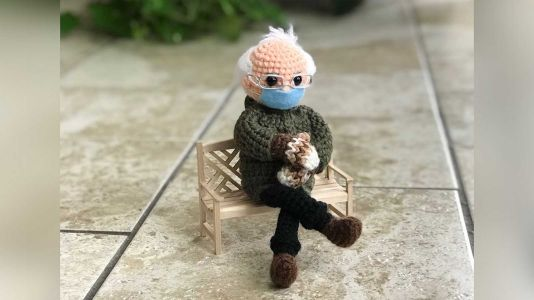 A crocheted Bernie Sanders doll raised more than $40K for charity in an online auction