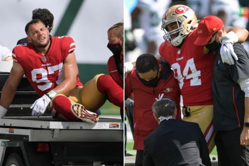 49ers' Nick Bosa, Solomon Thomas, carted off on consecutive plays