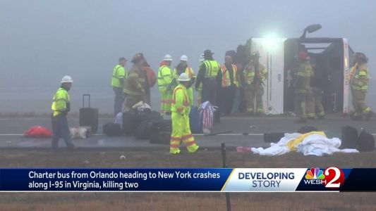 Officials: Charter bus that left Orlando crashes in Virginia, killing 2