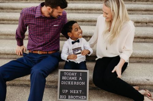 Little boy shares beautiful news on day he's adopted: 'Up next. big brother'