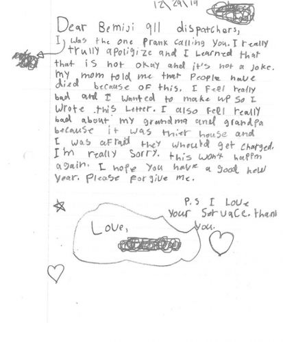 'I'm Really Sorry This Won't Happen Again': Child Writes Apology Letter After Prank Calling 911