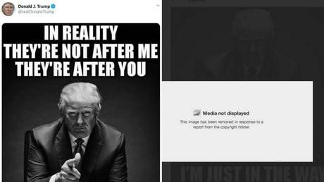 All's fair in WAR? Twitter removes Trump's post featuring his OWN IMAGE after NYT files copyright complaint