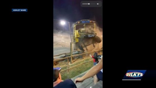 Crazy video: Driver loses control during Zombie School Bus races in Clarksville