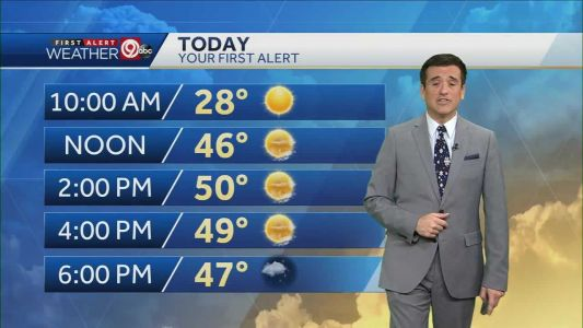 Saturday will be sunny with high near 50