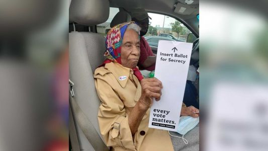 'If she can do it, you can too!': Pandemic doesn't deter 102-year-old from voting