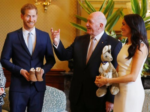 Meghan Markle and Prince Harry were given a tiny pair of Ugg boots and a toy kangaroo as their first royal baby gifts