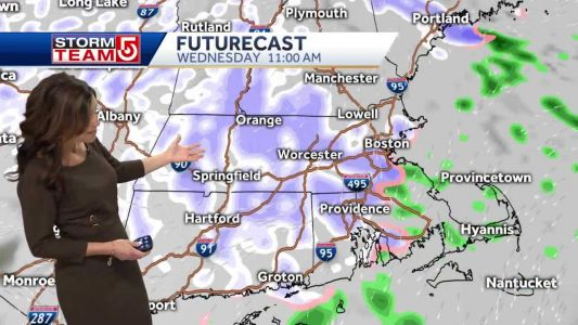 Video: Snow moves in for evening commute