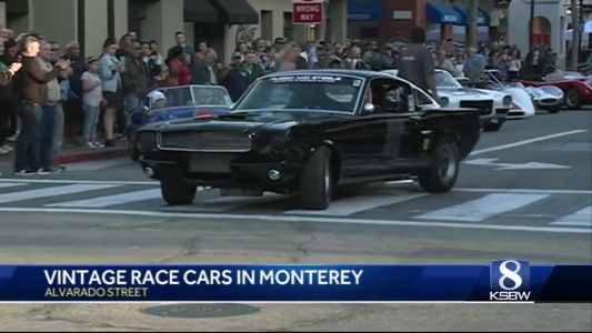 Vintage race cars take over Alvarado Street for the start of car week