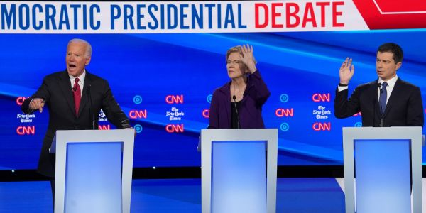 Pete Buttigieg tried to save his campaign by taking swings at Elizabeth Warren at the 4th Democratic debate