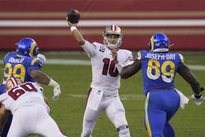 Jimmy Garoppolo throws 3 TD passes, 49ers beat Rams 24-16