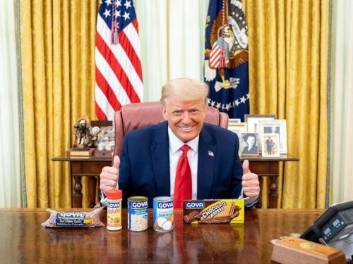President Trump posts photo of himself grinning alongside Goya products in the Oval Office, as critics accuse Ivanka Trump of violating ethics rules for promoting the company's beans