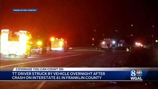 Tractor-trailer driver hit by vehicle along I-81 in Franklin County