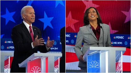 'I said the FIRST!' Biden boasts that he has support of 'only' female African-American senator while on stage with Kamala Harris