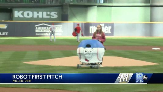 Robotics team's creation throws out first pitch at Miller Park