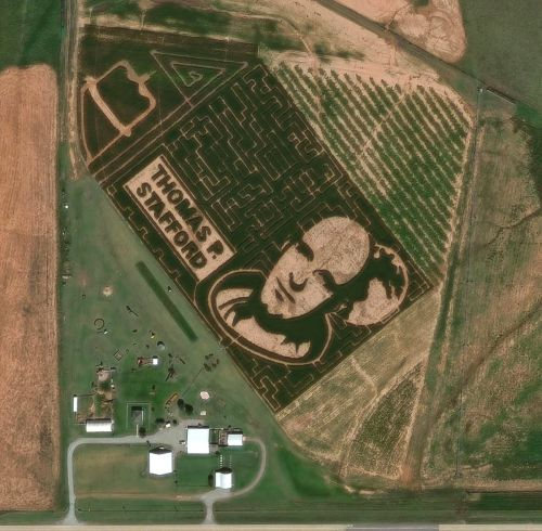 An Oklahoma corn maze with a portrait of an astronaut has been photographed from space