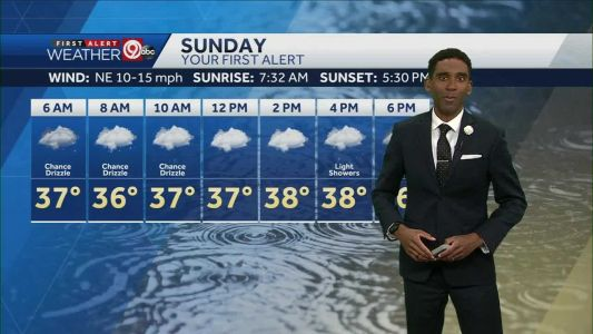 Light rain showers possible for part of Sunday