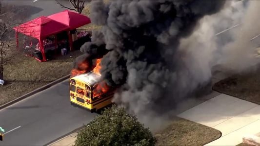 School bus on fire in Baltimore