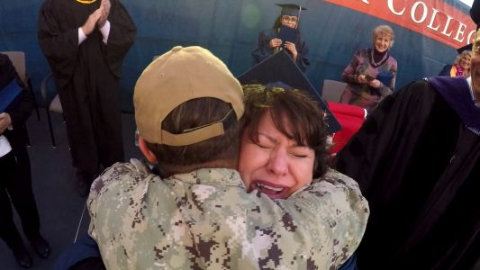 Sailor surprises mom at her college graduation in Sacramento County