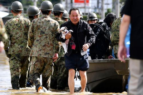 Woman dropped from rescue chopper among 19 dead from Typhoon Hagibis