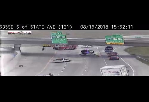 I-635 SB closed past State Avenue - motorists advised to use an alternate route
