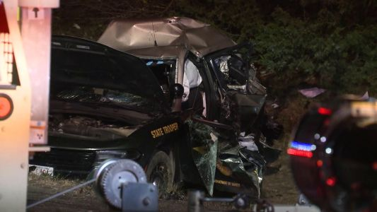 Crash involving state police cruiser, tractor-trailer shuts down part of I-95 in Portsmouth