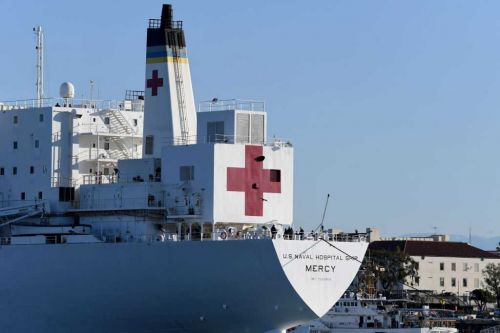 Man intentionally derails train near US Navy hospital ship, prosecutors say