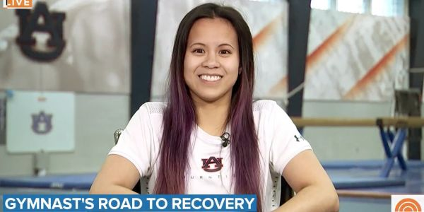 The college gymnast who broke both her legs called the career-ending injury a 'small setback' said she's 'really excited' for her future