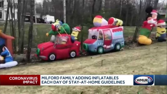 Milford family puts up inflatable decoration for each day of self-isolation