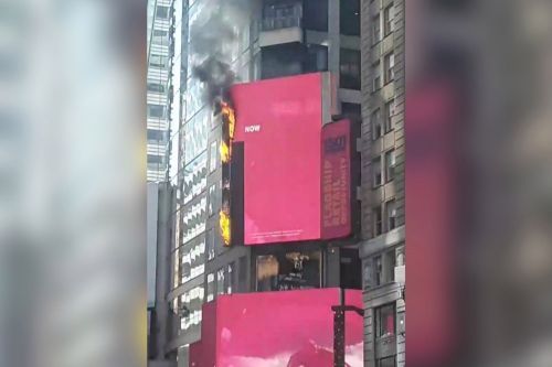 Electronic billboard in Times Square goes up in flames