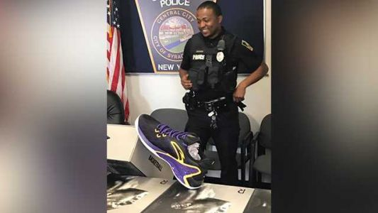Police officer's basketball challenge leads NBA player to donate dozens of shoes for kids