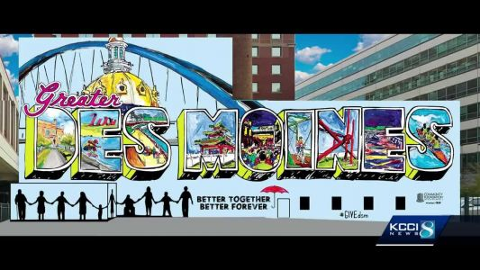 Postcard mural a special delivery for Des Moines visitors