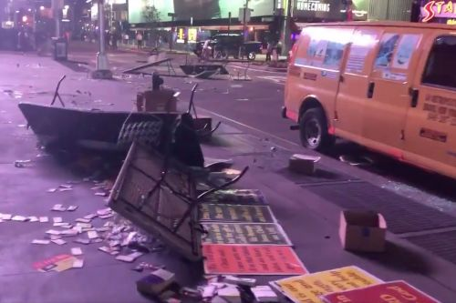 Video shows wreckage of Times Square after night of chaos