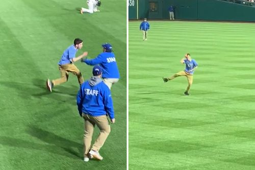 Phillies fan runs on field to mock security with 'Fortnite' dance