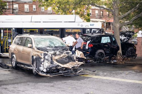 Driver of stolen car fleeing police crashes into occupied MTA bus