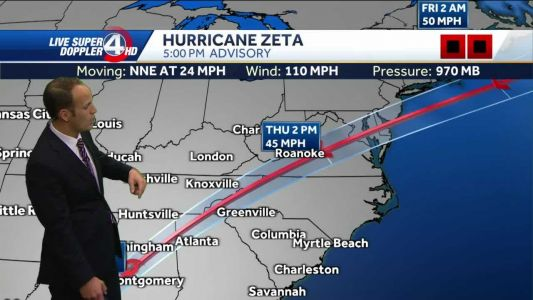 Tropical storm warning ahead of Zeta