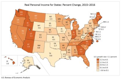 Real Personal Income for States, 2016