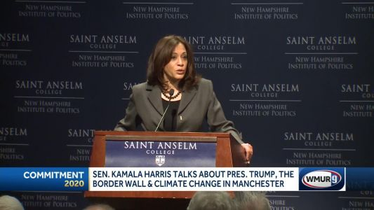 Harris blasts Trump on border wall, climate change denial