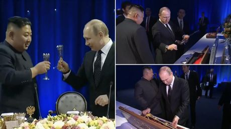Clinking glasses & swapping swords: Watch highlights from Kim's summit with Putin