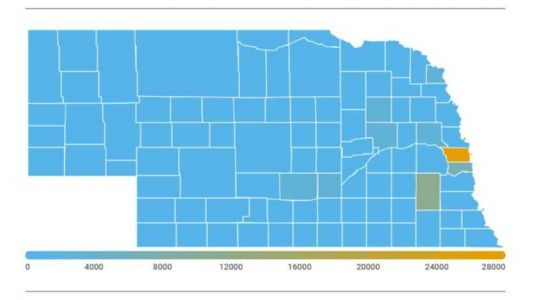 Maps of Nebraska, Iowa show the number of coronavirus cases county-by-county