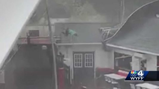 Monday night's storm blew Esso Club employee onto the roof