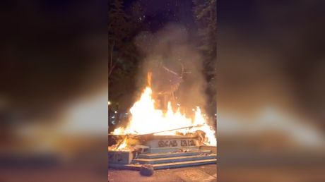 This is how we end racism? Portland protesters mocked after setting ELK STATUE on fire
