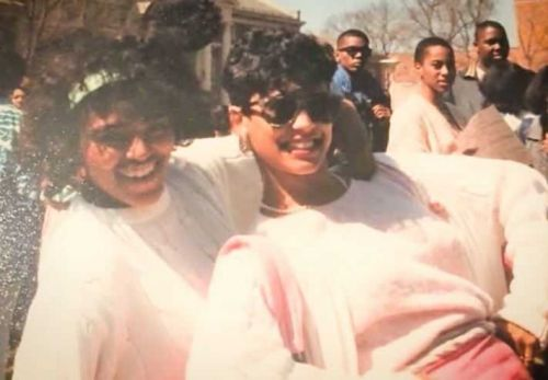 Local members of Alpha Kappa Alpha Sorority Inc. celebrate fellow sister, Vice President Harris