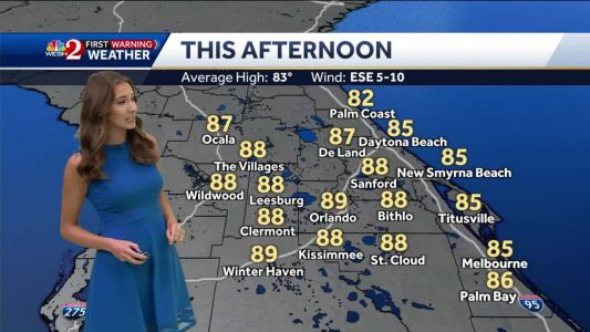 Sunny, temps in the 80s Friday